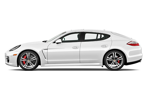 AUT 45 IZ0283 01 © Kimball Stock 2013 Porsche Panamera Turbo White Profile View On White Seamless