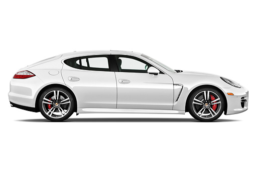 AUT 45 IZ0284 01 © Kimball Stock 2013 Porsche Panamera Turbo White Profile View On White Seamless