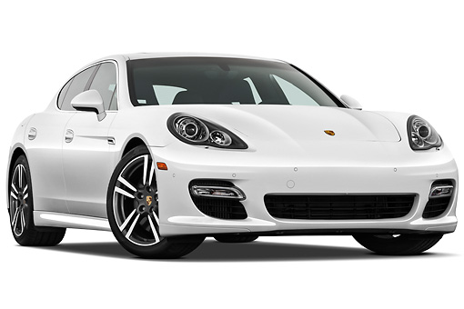 AUT 45 IZ0285 01 © Kimball Stock 2013 Porsche Panamera Turbo White 3/4 Front View On White Seamless