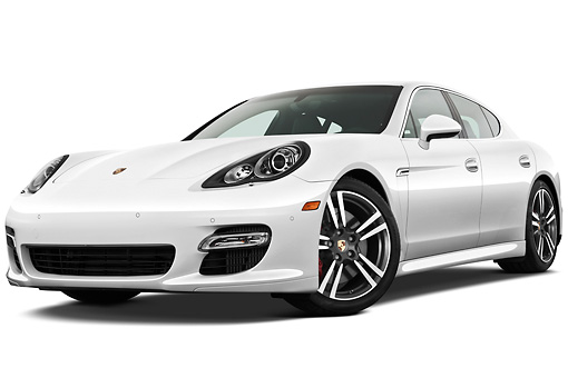 AUT 45 IZ0286 01 © Kimball Stock 2013 Porsche Panamera Turbo White 3/4 Front View On White Seamless