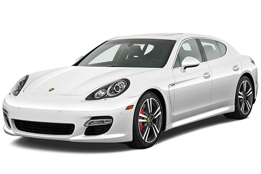 AUT 45 IZ0287 01 © Kimball Stock 2013 Porsche Panamera Turbo White 3/4 Front View On White Seamless