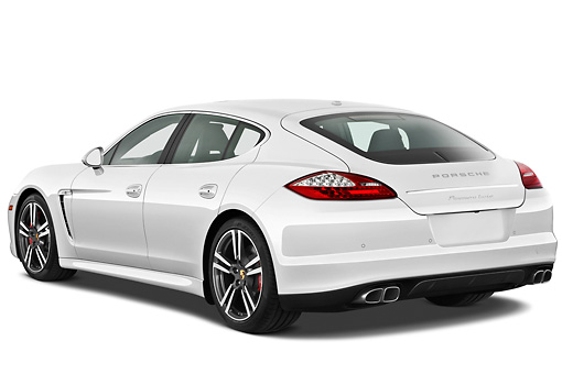 AUT 45 IZ0288 01 © Kimball Stock 2013 Porsche Panamera Turbo White 3/4 Rear View On White Seamless