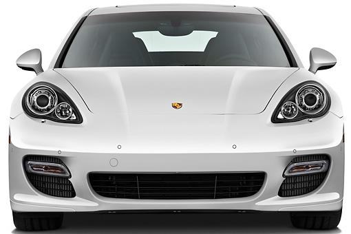 AUT 45 IZ0289 01 © Kimball Stock 2013 Porsche Panamera Turbo White Front View On White Seamless
