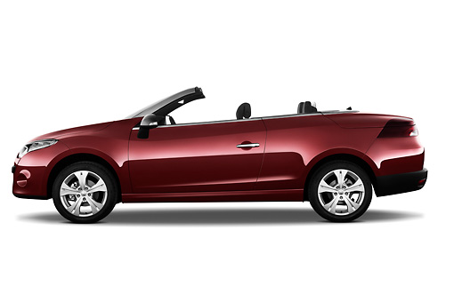 AUT 45 IZ0291 01 © Kimball Stock 2013 Renault Megane Coupe Convertible Red Profile View On White Seamless