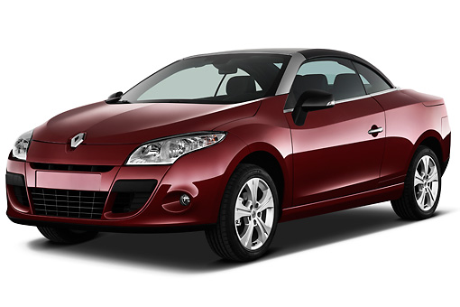 AUT 45 IZ0293 01 © Kimball Stock 2013 Renault Megane Coupe Convertible Red 3/4 Front View On White Seamless
