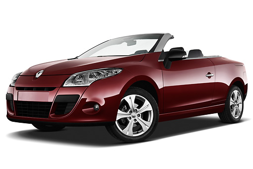 AUT 45 IZ0294 01 © Kimball Stock 2013 Renault Megane Coupe Convertible Red 3/4 Front View On White Seamless