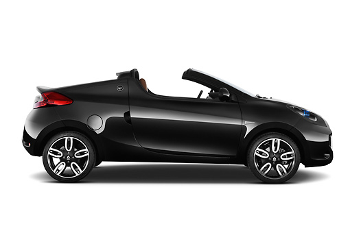 AUT 45 IZ0300 01 © Kimball Stock 2013 Renault Wind Convertible Black Profile View On White Seamless