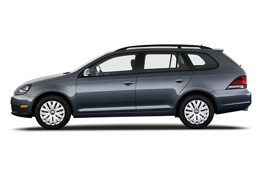 AUT 45 IZ0315 01 © Kimball Stock 2010 Volkswagen Jetta SportWagen S Gray Profile View On White Seamless