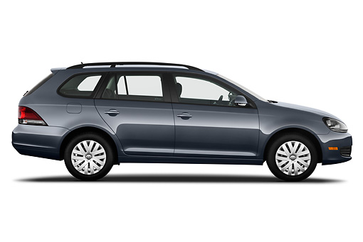 AUT 45 IZ0316 01 © Kimball Stock 2010 Volkswagen Jetta SportWagen S Gray Profile View On White Seamless