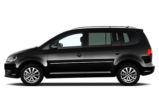 AUT 45 IZ0324 01 © Kimball Stock 2010 Volkswagen Touran Highline 5 Door Mini MPV Black Profile View On White Seamless