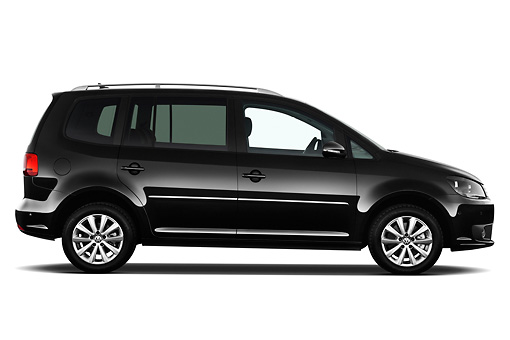 AUT 45 IZ0325 01 © Kimball Stock 2010 Volkswagen Touran Highline 5 Door Mini MPV Black Profile View On White Seamless