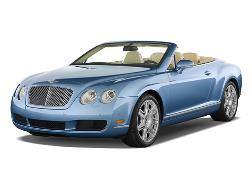 AUT 45 IZ0349 01 © Kimball Stock 2010 Bentley Continental GTC Blue 3/4 Front View On White Seamless