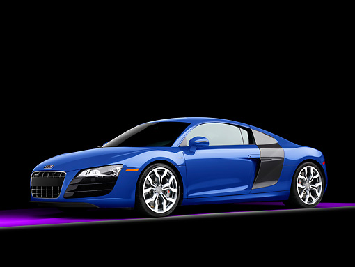 AUT 45 RK0013 01 © Kimball Stock 2010 Audi R8 5.2 FSI Quattro Coupe Blue 3/4 Front View Studio