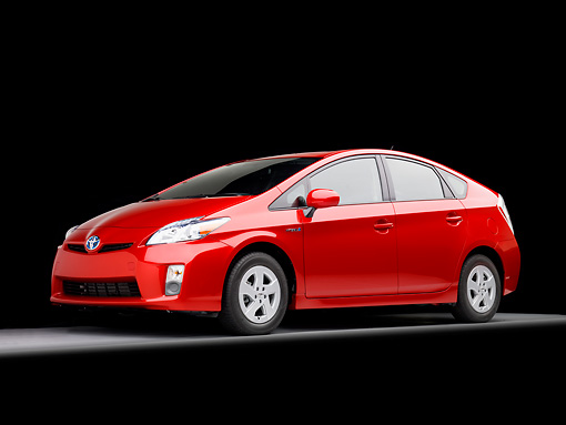 AUT 45 RK0032 01 © Kimball Stock 2010 Toyota Prius Hybrid Red 3/4 Front View Studio