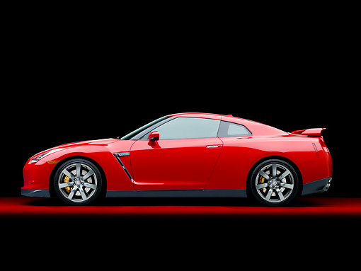 AUT 45 RK0035 01 © Kimball Stock 2010 Nissan GT-R Red Profile View Studio
