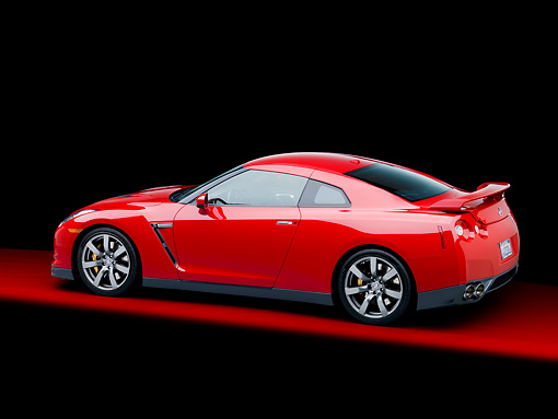 AUT 45 RK0036 01 © Kimball Stock 2010 Nissan GT-R Red 3/4 Rear View Studio