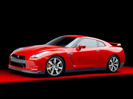 AUT 45 RK0037 01 © Kimball Stock 2010 Nissan GT-R Red 3/4 Front View Studio