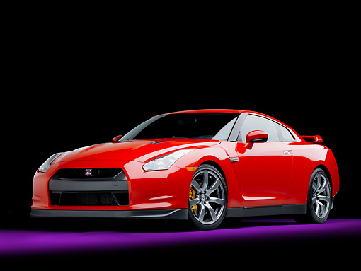 AUT 45 RK0038 01 © Kimball Stock 2010 Nissan GT-R Red 3/4 Front View Studio
