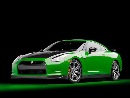 AUT 45 RK0039 01 © Kimball Stock 2010 Nissan GT-R Green And Black 3/4 Front View Studio