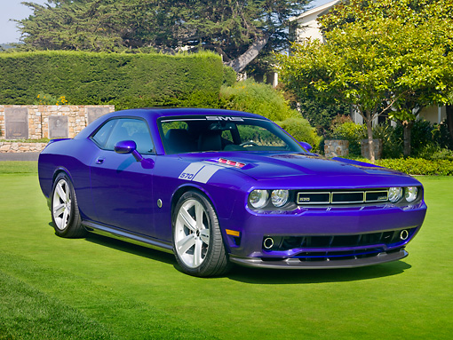 AUT 45 RK0063 01 © Kimball Stock 2010 SMS 570 Challenger Purple 3/4 Front View On Grass