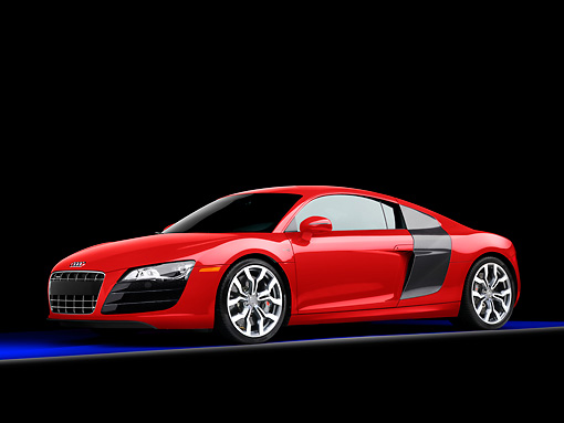 AUT 45 RK0012 01 © Kimball Stock 2010 Audi R8 5.2 FSI Quattro Coupe Red 3/4 Front View Studio