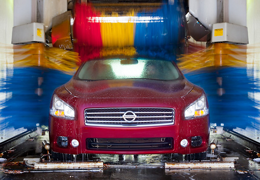 AUT 46 BK0012 01 © Kimball Stock 2011 Nissan Maxima 3.5 SV Premium Red Head On View In Car Wash