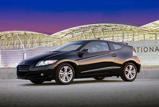 AUT 46 BK0036 01 © Kimball Stock 2011 Honda CR-Z Black 3/4 Side View On Pavement By San Francisco International Airport