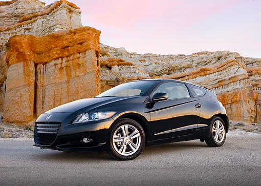 AUT 46 BK0037 01 © Kimball Stock 2011 Honda CR-Z Black 3/4 Front View On Pavement By Red Rock