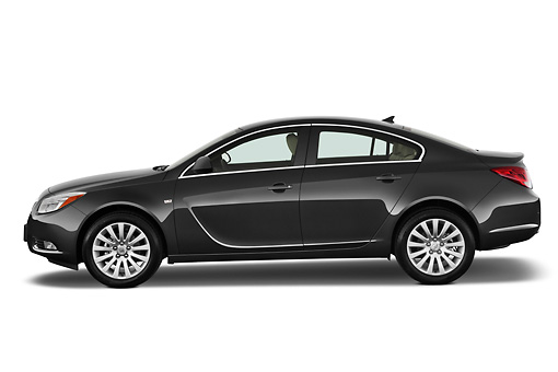 AUT 46 IZ0001 01 © Kimball Stock 2013 Buick Regal CXL Sedan Gray Profile View On White Seamless