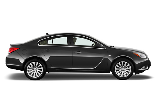 AUT 46 IZ0002 01 © Kimball Stock 2013 Buick Regal CXL Sedan Gray Profile View On White Seamless