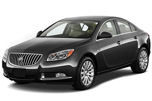 AUT 46 IZ0003 01 © Kimball Stock 2013 Buick Regal CXL Sedan Gray 3/4 Front View On White Seamless