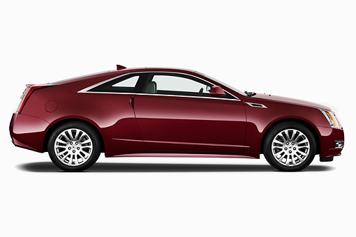 AUT 46 IZ0063 01 © Kimball Stock 2013 Cadillac CTS Coupe Premium Red Profile View On White Seamless