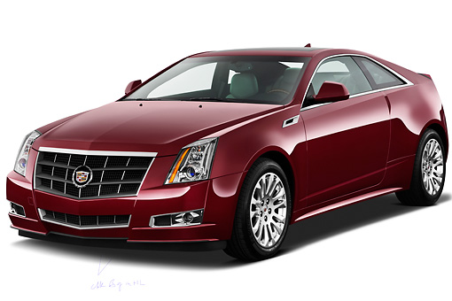 AUT 46 IZ0064 01 © Kimball Stock 2013 Cadillac CTS Coupe Premium Red 3/4 Front View On White Seamless