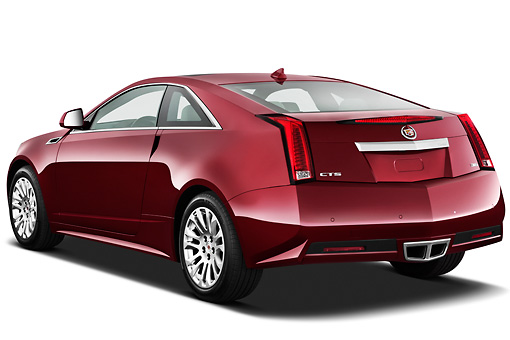 AUT 46 IZ0067 01 © Kimball Stock 2013 Cadillac CTS Coupe Premium Red 3/4 Rear View On White Seamless
