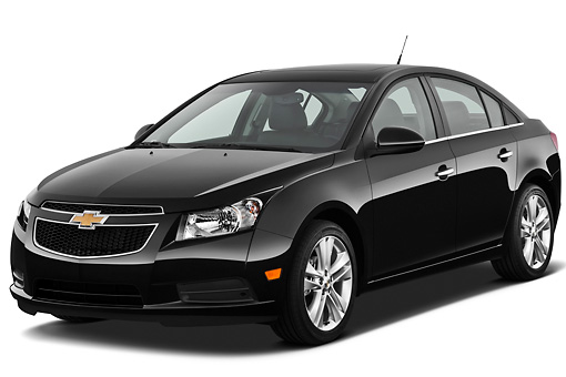 AUT 46 IZ0073 01 © Kimball Stock 2012 Chevrolet Cruze Black 3/4 Front View On White Seamless
