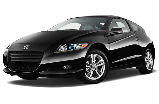 AUT 46 IZ0091 01 © Kimball Stock 2011 Honda CRZ EX Sport Hybrid Coupe Black 3/4 Front View On White Seamless