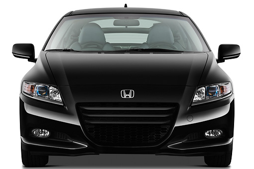 AUT 46 IZ0093 01 © Kimball Stock 2011 Honda CRZ EX Sport Hybrid Coupe Black Front View On White Seamless