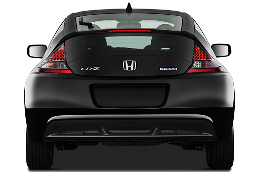 AUT 46 IZ0094 01 © Kimball Stock 2011 Honda CRZ EX Sport Hybrid Coupe Black Rear View On White Seamless