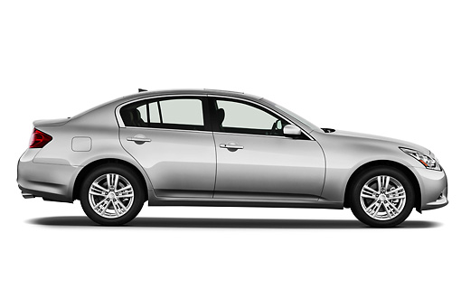 AUT 46 IZ0096 01 © Kimball Stock 2012 Infiniti G25 Journey Sedan Silver Profile View On White Seamless