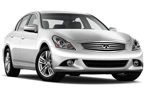 AUT 46 IZ0098 01 © Kimball Stock 2012 Infiniti G25 Journey Sedan Silver 3/4 Front View On White Seamless