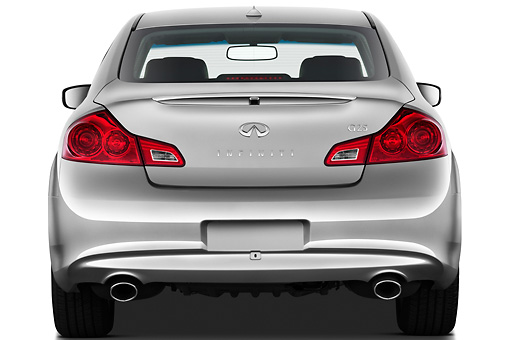 AUT 46 IZ0102 01 © Kimball Stock 2012 Infiniti G25 Journey Sedan Silver Rear View On White Seamless