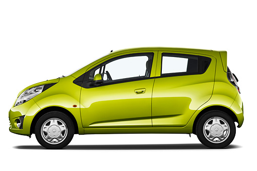 AUT 46 IZ0111 01 © Kimball Stock 2013 Chevrolet Spark LS 5 Door Hatchback Green Profile View On White Seamless