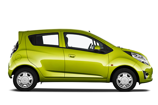 AUT 46 IZ0112 01 © Kimball Stock 2013 Chevrolet Spark LS 5 Door Hatchback Green Profile View On White Seamless
