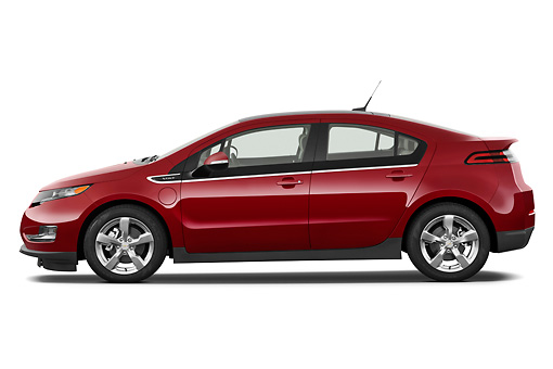 AUT 46 IZ0119 01 © Kimball Stock 2013 Chevrolet Volt Red Profile View On White Seamless