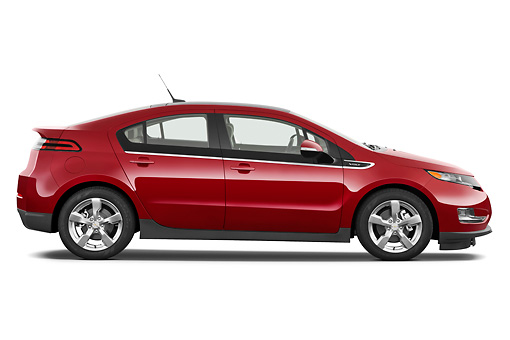 AUT 46 IZ0121 01 © Kimball Stock 2013 Chevrolet Volt Red Profile View On White Seamless