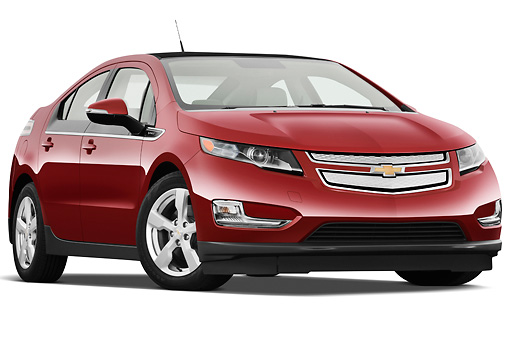 AUT 46 IZ0122 01 © Kimball Stock 2013 Chevrolet Volt Red 3/4 Front View On White Seamless