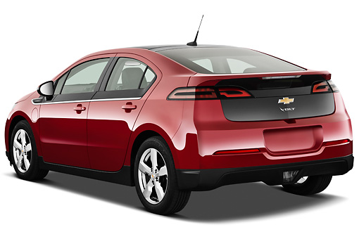 AUT 46 IZ0124 01 © Kimball Stock 2013 Chevrolet Volt Red 3/4 Rear View On White Seamless