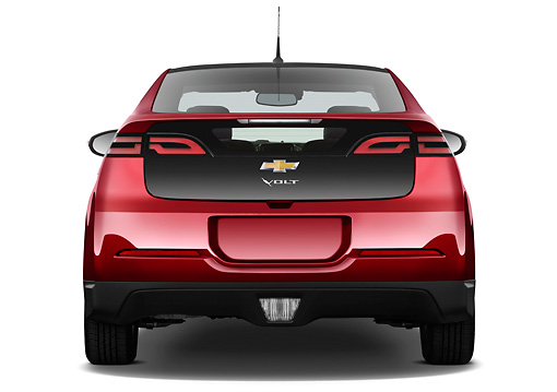 AUT 46 IZ0126 01 © Kimball Stock 2013 Chevrolet Volt Red Rear View On White Seamless