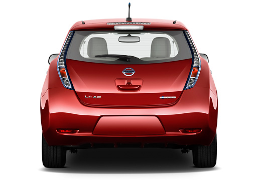 AUT 46 IZ0134 01 © Kimball Stock 2012 Nissan Leaf SL Red Rear View On White Seamless