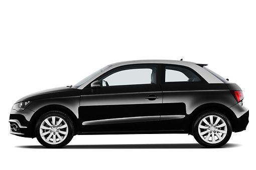 AUT 46 IZ0143 01 © Kimball Stock 2013 Audi A1 3 Door Hatchback Black Profile View On White Seamless